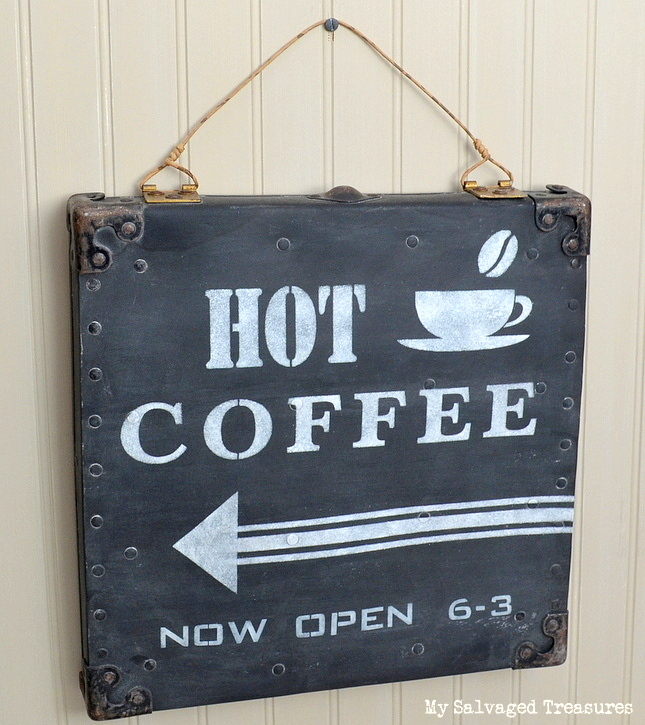 Hot Coffee Sign with Old Sign Stencils, by My Salvaged Treasures, featured on Funky Junk Interiors