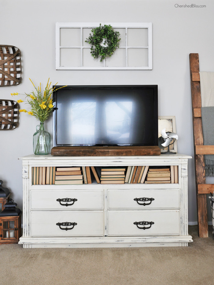 How to decorate around a TV, by Cherished Bliss, featured on Funky Junk Interiors