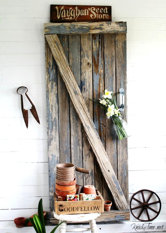 Reclaimed wood barn gate, by Knick of Time, featured on Funky Junk Interiors