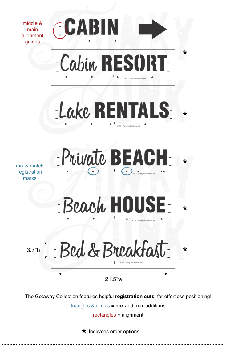 Getaway Collection - beach, lake and vacation stencils by Funky Junk's Old Sign Stencils
