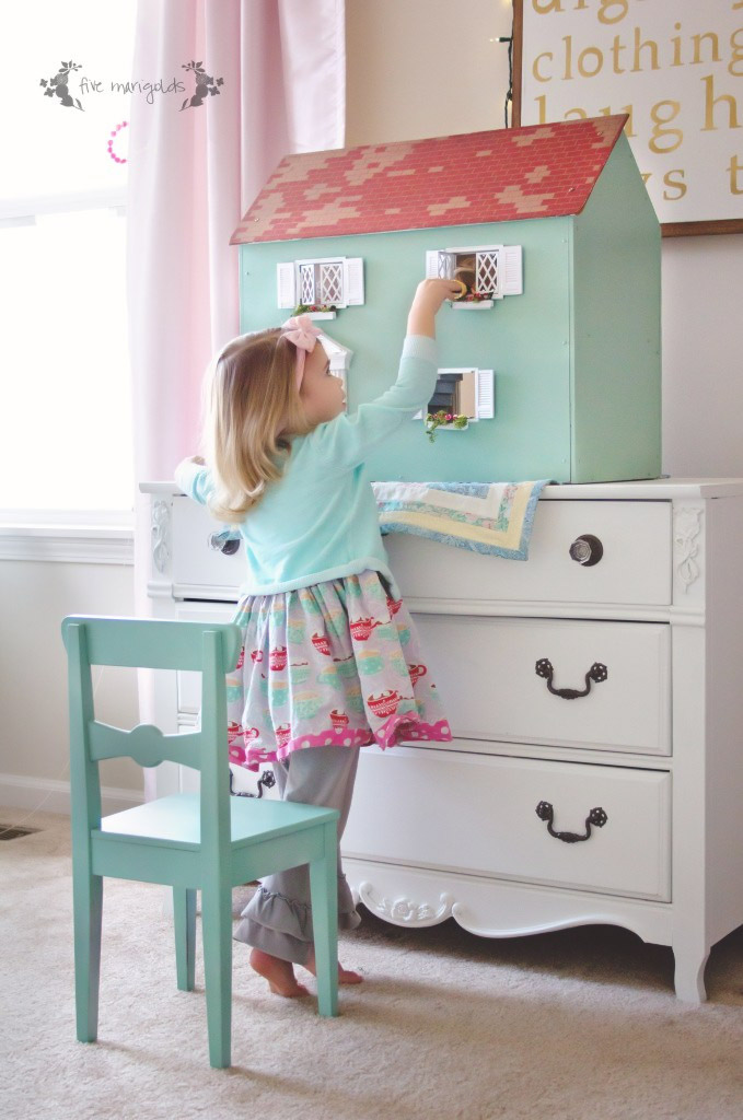 Upcycled vintage dollhouse makeover, by Five Marigolds, featured on Funky Junk Interiors