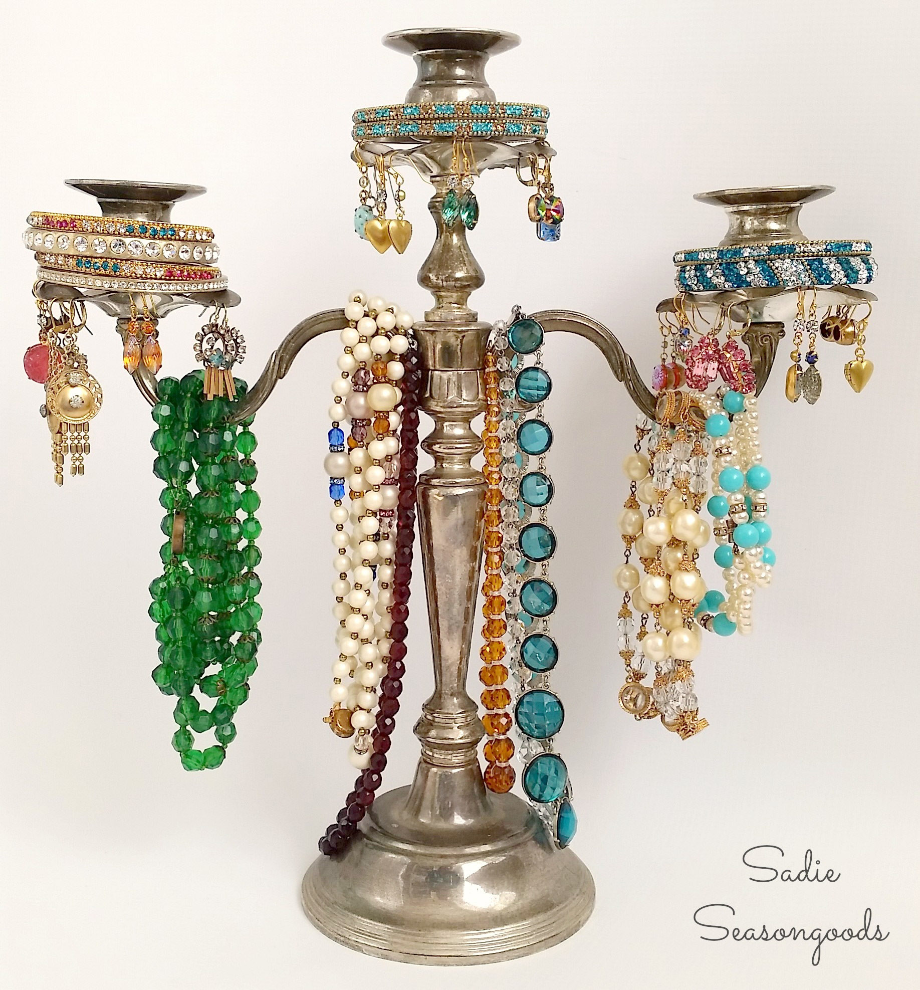 A Candelabra Jewelry Tree by Sadie Seasongoods, featured on Funky Junk Interiors