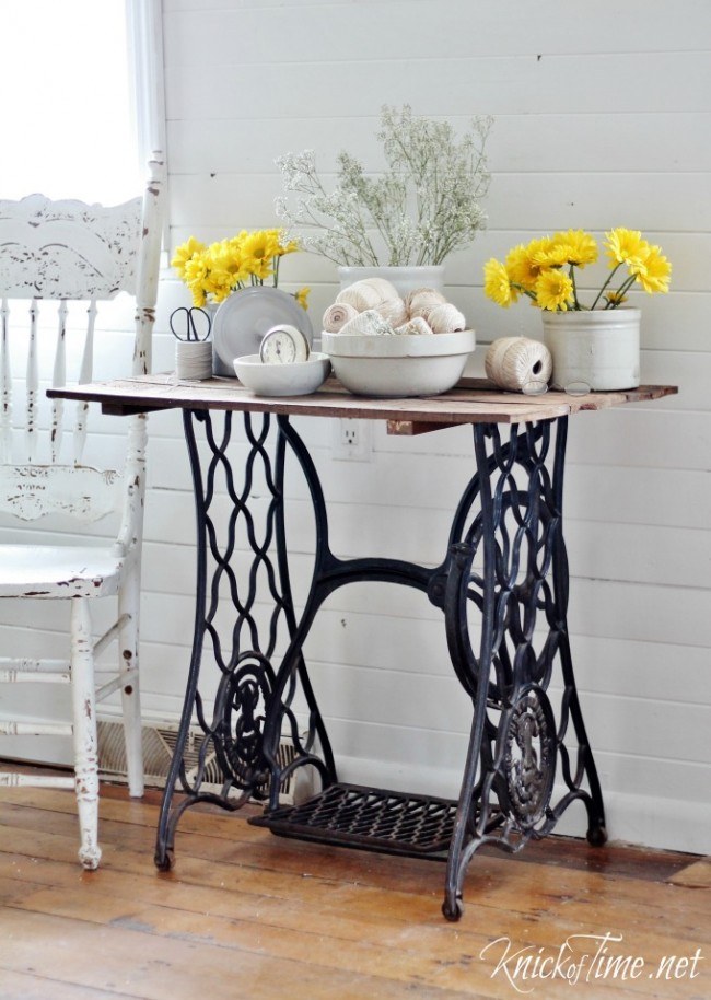 Salvaged sewing machine base turned side table plus others, by Knick of Time, featured on Funky Junk Interiors