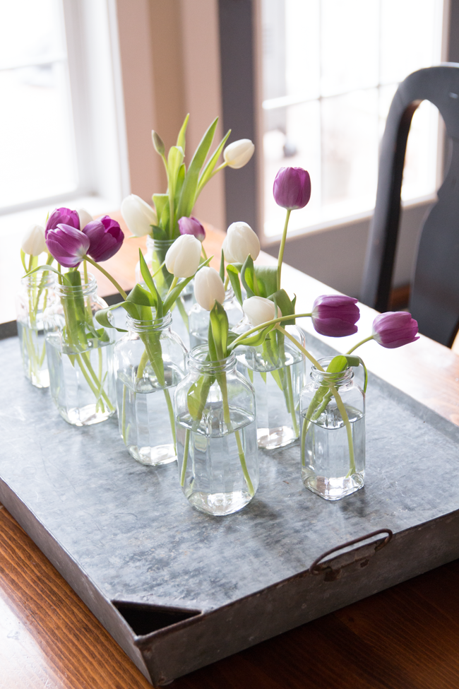Tulips in jars 10 minute centrepiece, by Finding Home, featured on Funky Junk Interiors