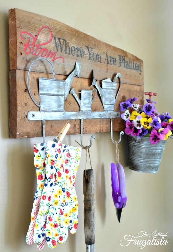 Spring Garden Tool Holder sign with Planter, by The Interior Frugalista, featured on Funky Junk Interiors