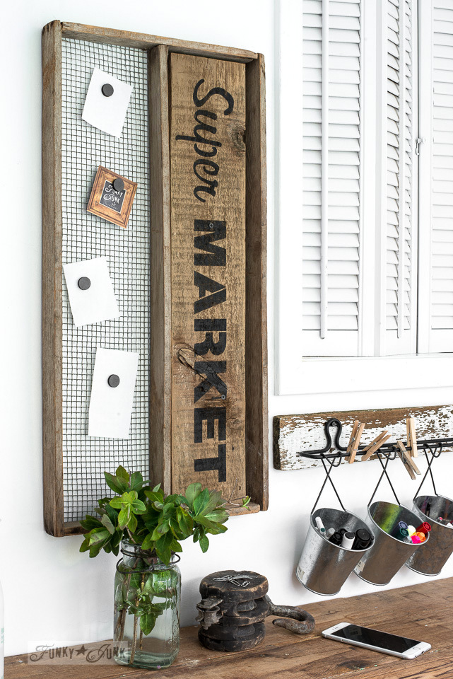 Super Market - a magnetic message board made from an antique soil sifter : Funky Junk's Old Sign Stencils