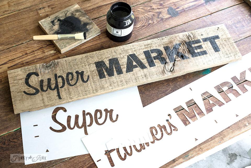 Super Market magnetic board : Funky Junk's Old Sign Stencils / funkyjunkinteriors.net