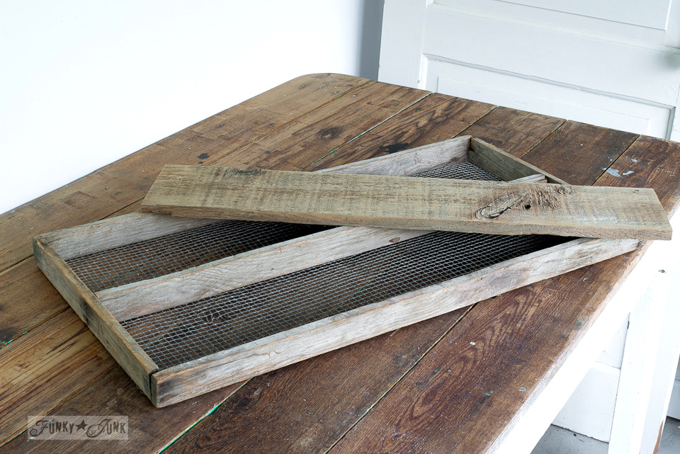 making a magnetic board from an antique soil sifter and reclaimed wood plank