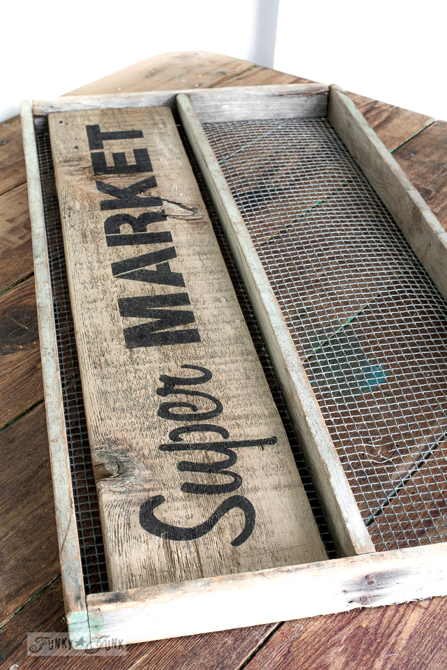 5 minute Super Market soil sifter magnetic board / made with Funky Junk's Old Sign Stencils