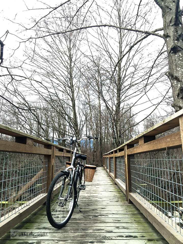 bike riding for some quiet time, across a wooden trail bridge | funkyjunkinteriors.net