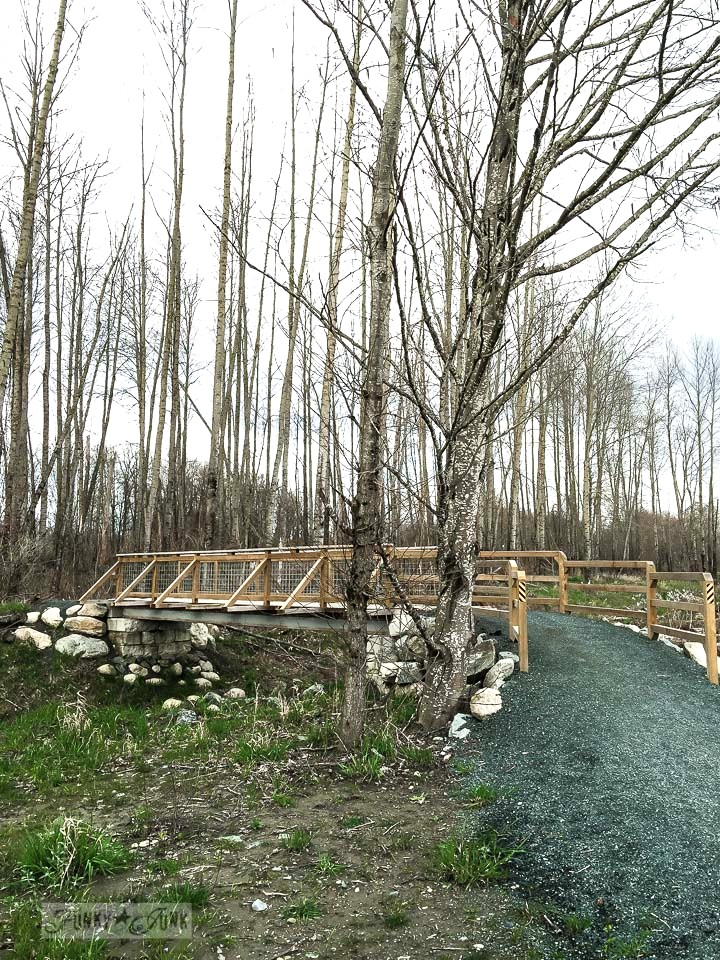 A goregeous new, wooden bridge crossing a creek during a bike trail ride / story on funkyjunkinteriors.net