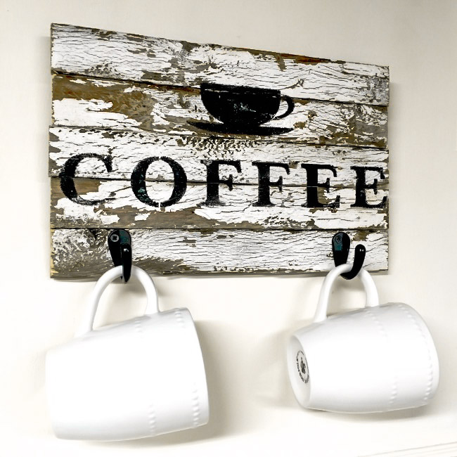 Authentically chippy coffee sign with hooks, by Homeroad, featured on Funky Junk Interiors