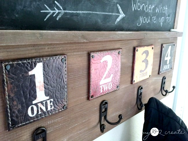 Repurposed coasters coat track, by My Love 2 Decorate, featured on Funky Junk Interiors