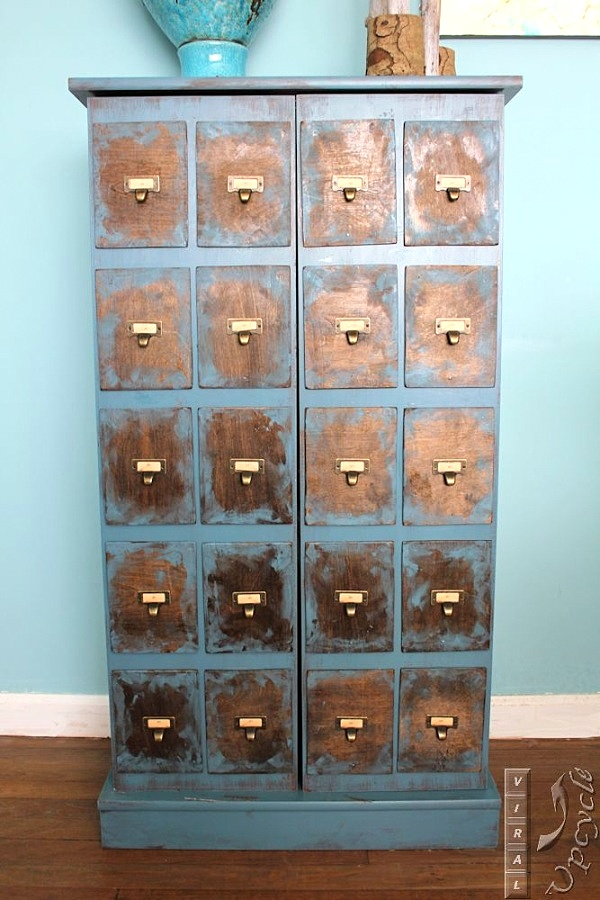 faux card catalog DVD CABINET INTO A FAUX CARD CATALOG, by Viral Upcycle, featured on Funky Junk Interiors