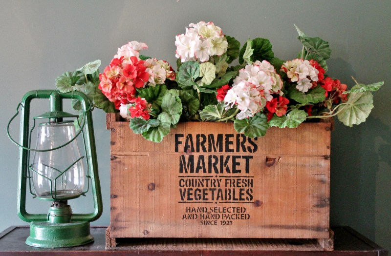 Farmers Market vintage crate for flowers, by Adirondack Girl At Heart, featured on Funky Junk Interiors