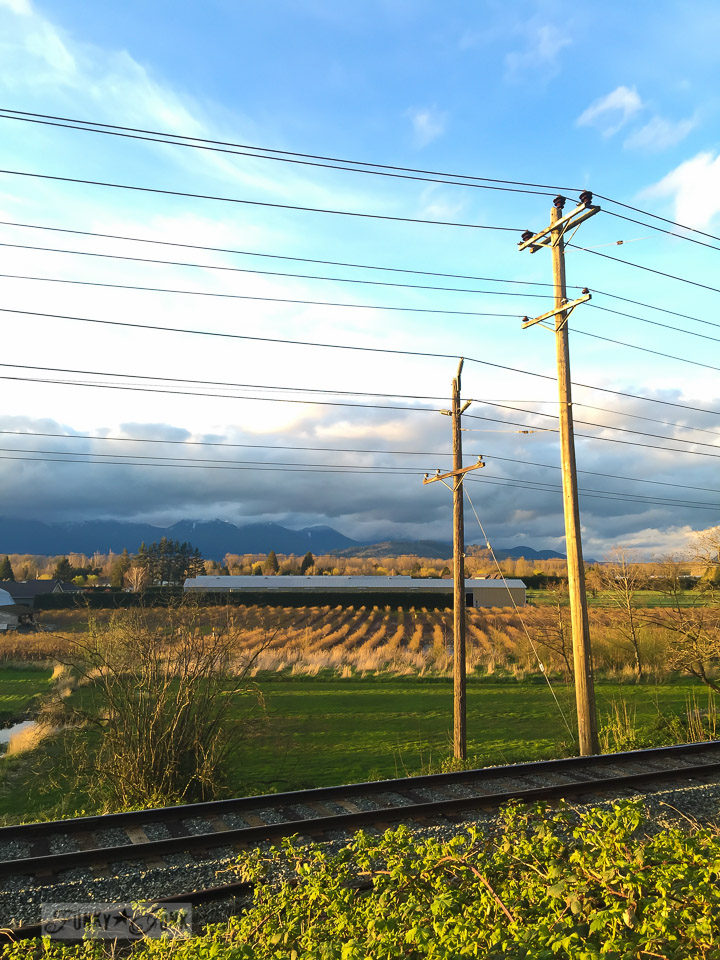 Mountain view with train tracks and telephone poles during golden hour