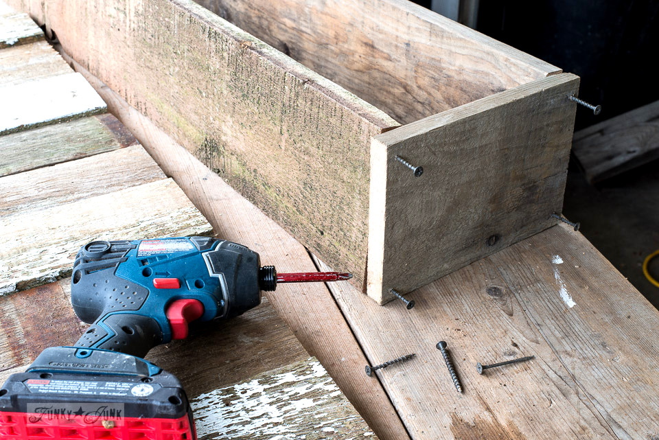 assembling the box / Mantel decorating with a reclaimed scrap wood window box