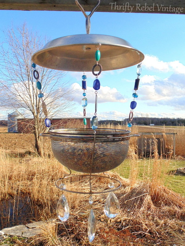 Repurposed Vintage Sieve Bird Feeder, by Thrifty Rebel Vintage, featured on Funky Junk Interiors