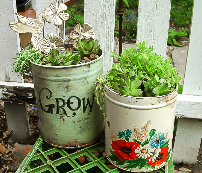 Junk succulent planters, by Saturdays Vintage Finds, featured on Funky Junk Interiors