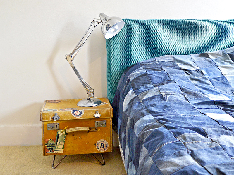 Upcycled Vintage Suitcase Side Table, by Pillar Box Blue, featured on Funky Junk Interiors