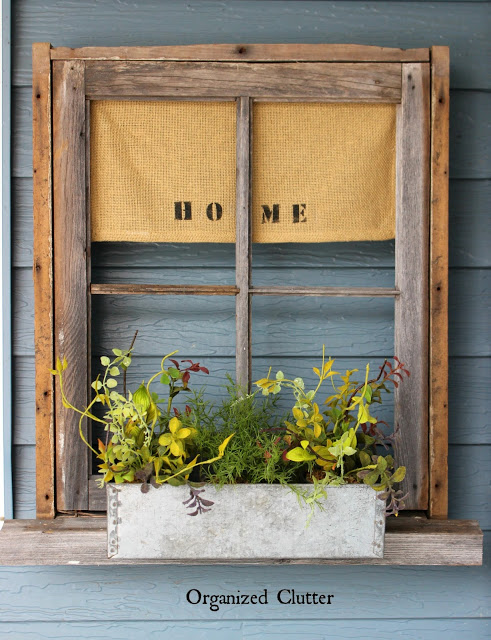 Upcycled window flower box, by Organized Clutter, featured on Funky Junk Interiors