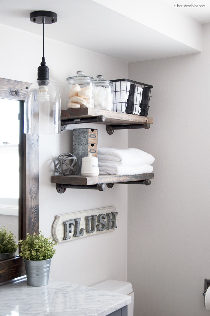 Industrial farmhouse bathroom, by Cherished Bliss, featured on Funky Junk Interiors
