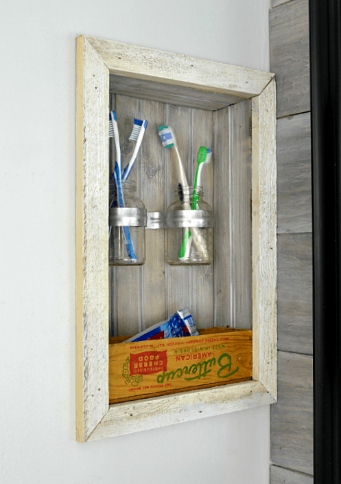How to build a storage shelf inside a wall, by Refresh Living, featured on Funky Junk Interiors