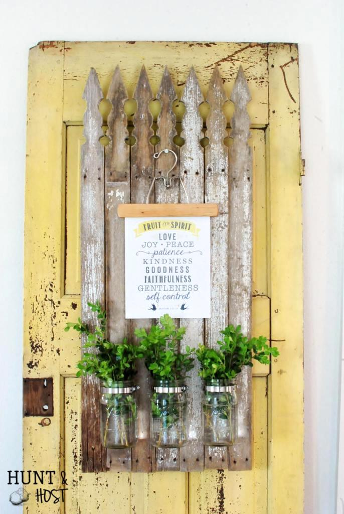 DIY picket message board plant holder, by Hunt and Host, featured on Funky Junk Interiors