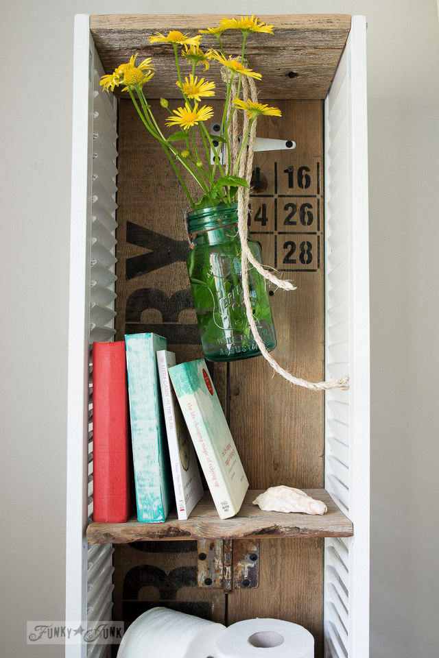 shutter shelf with hanging mason jar filled with yellow flowers / funkyjunkinteriors.net