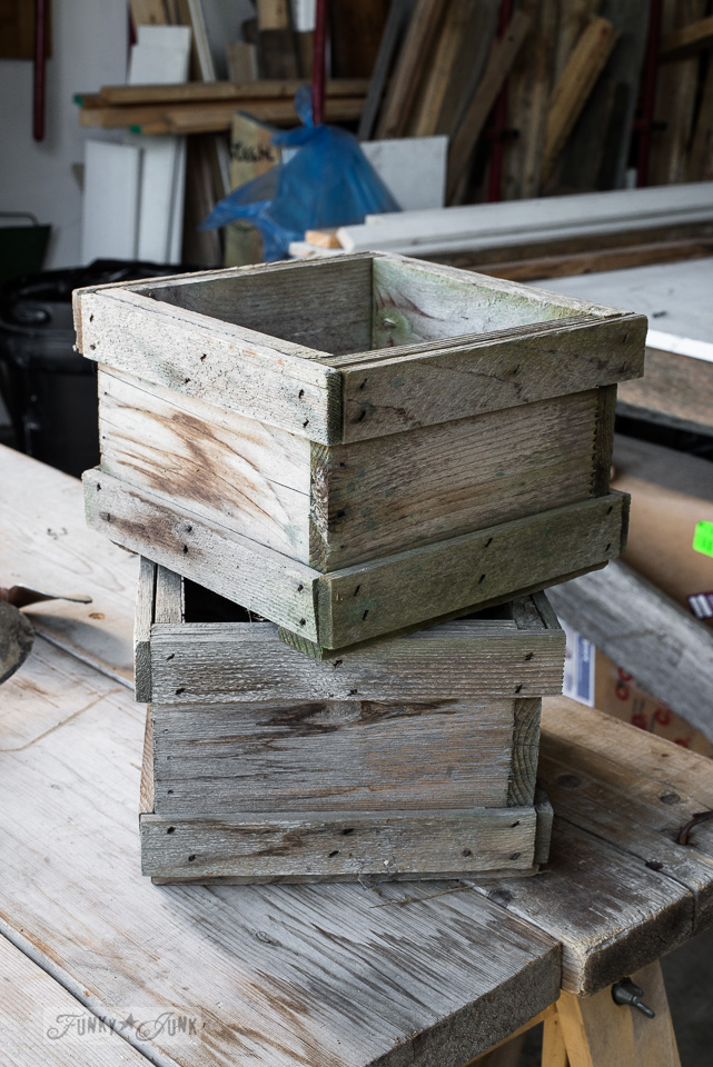 barnwood weathered old crates from Granny and Grumpa's during junk shopping / funkyjunkinteriors.net