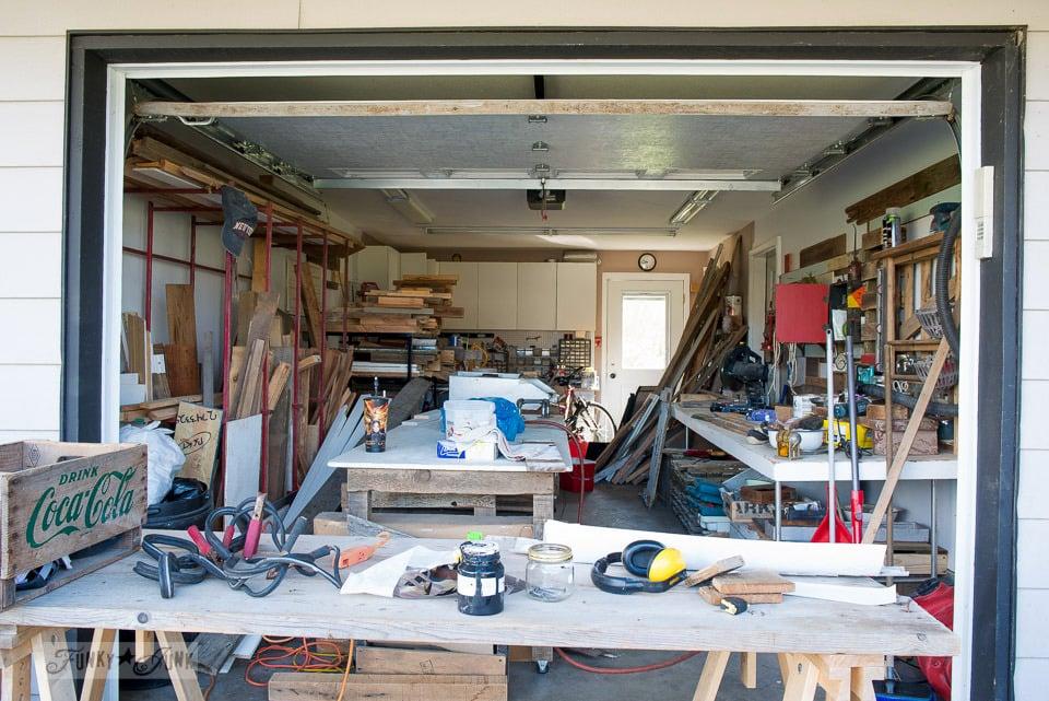 messy garage workshop before / funkyjunkinteriors.net