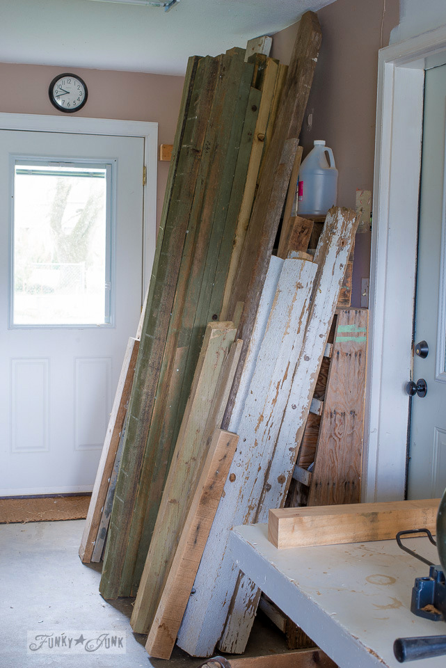 storing reclaimed wood stock in a workshop / funkyjunkinteriors.net