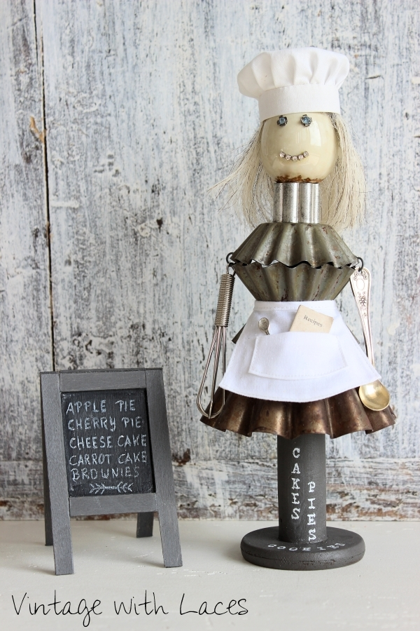 Abby Sugarbaker - Found Object Sculpture by Vintage with Laces, featured on Funky Junk Interiors