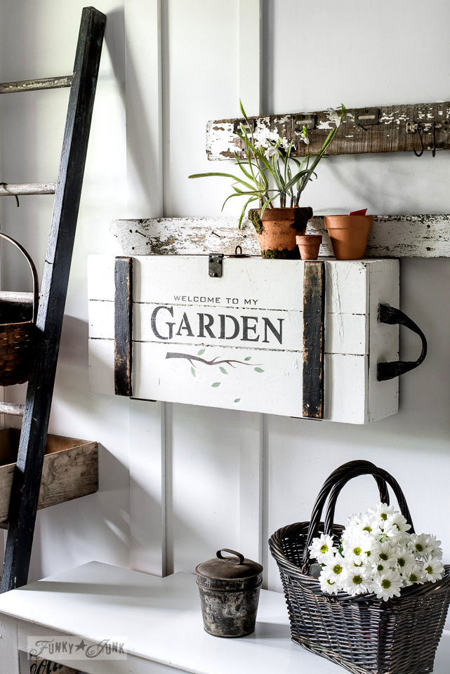 Crate entry table with GARDEN, Funky Junk's Old Sign Stencils