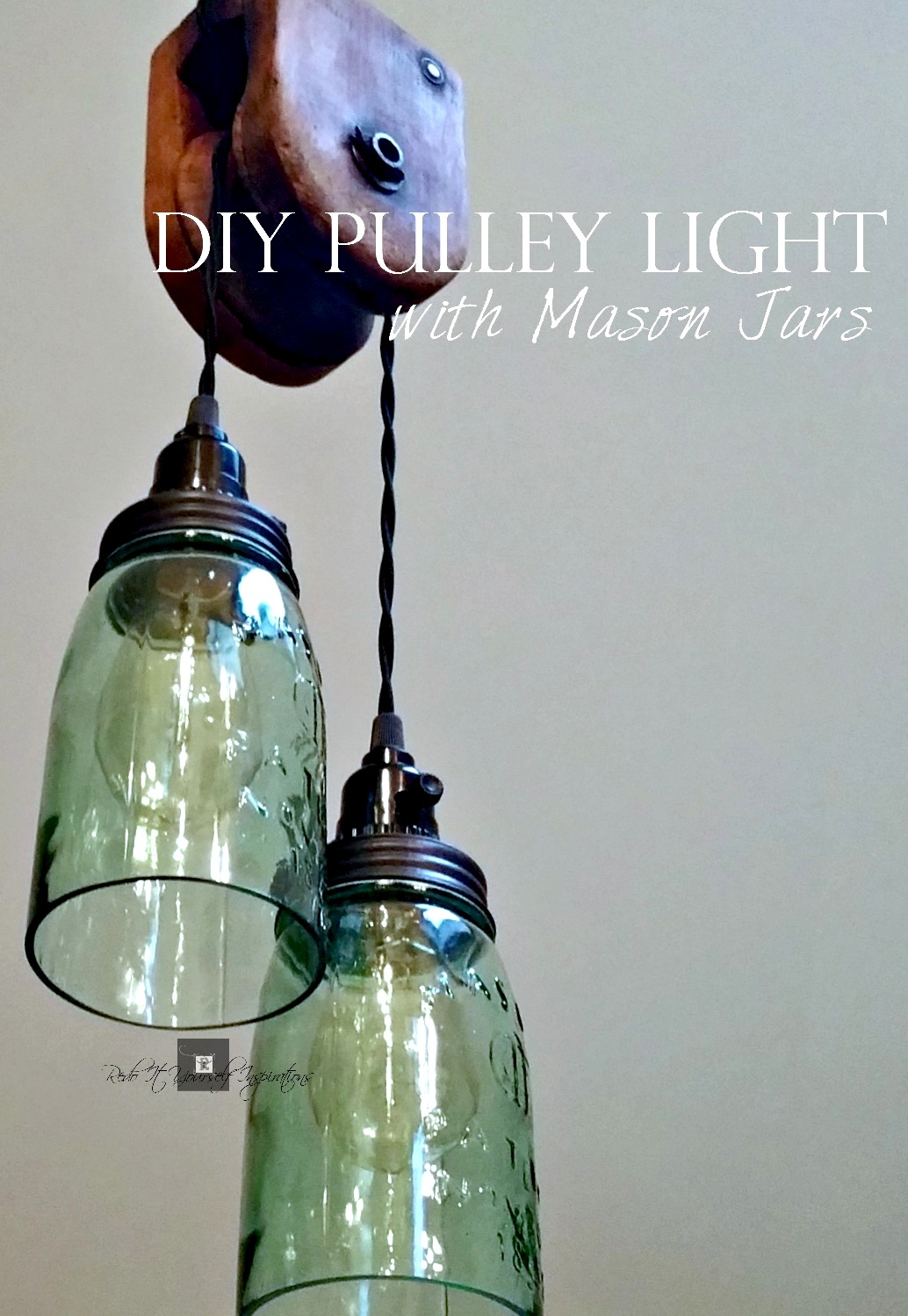 DIY Pulley Light with Mason Jars by Do It Yourself Inspirations, featured on Funky Junk Interiors