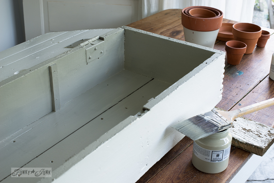 Coating a crate with Fusion Mineral Paint's Bedford, a gorgeous neutral sage green | funkyjunkinteriors.net