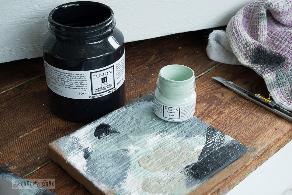 Mixing Fusion Mineral Paint's Inglenook and Coal Black to create a gorgeous sage green / funkyjunkinteriors.net