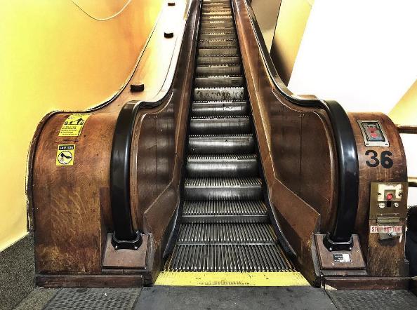 Macy's wooden escalator in New York City