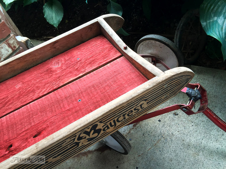 Antique Baycrest wagon lined with reclaimed wood, painted with Fusion Mineral Paint Fort York Red / funkyjunkinteriors.net