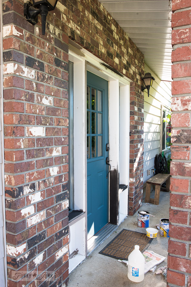 front door repaint in Fusion Mineral Paint's Homestead Blue / funkyjunkinteriors.net