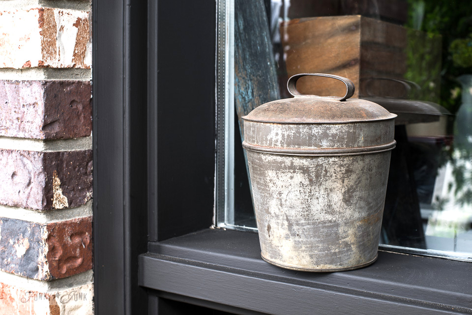 Industrial galvanized bucket against black trim / funkyjunkinteriors.net