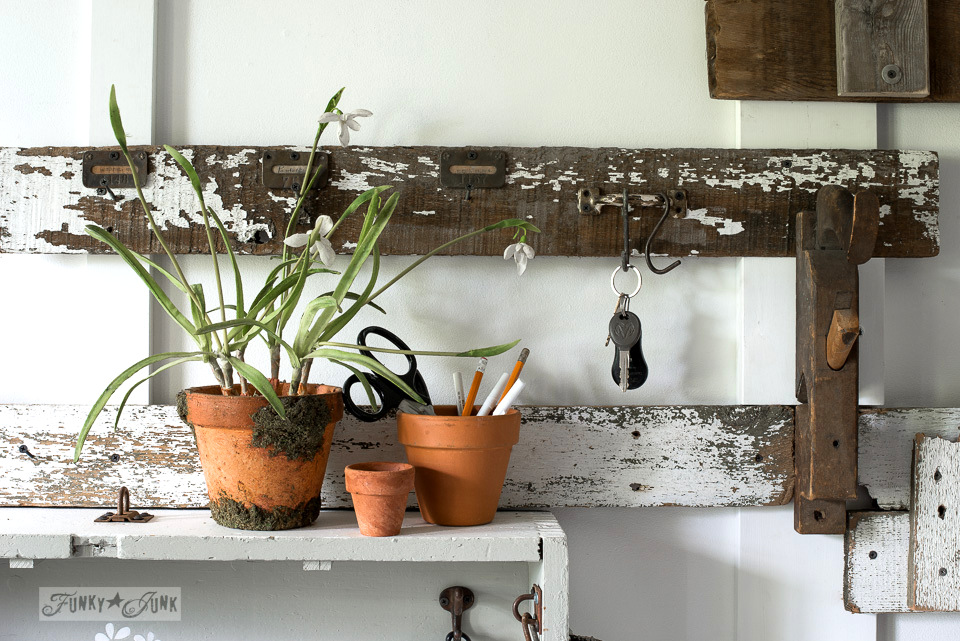 garden themed entryway, with reclaimed wood and vintage styled signs, using Funky Junk's Old Sign Stencils / funkyjunkinteriors.net