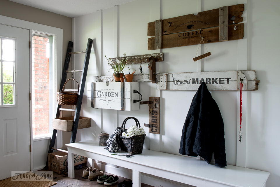 garden themed crate desk in an entry using Garden and Potting Shed, from Funky Junk's Old Sign Stencils | funkyjunkinteriors.net