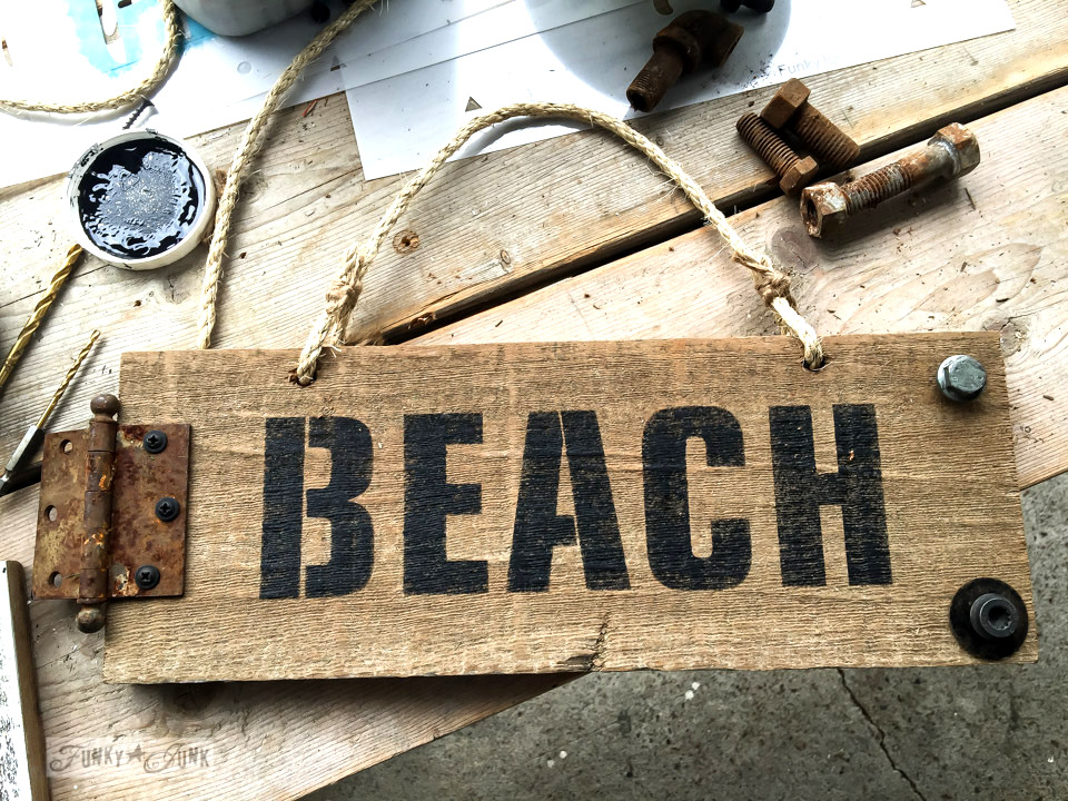 a rustic beach sign made with Funky Junk's Old Sign Stencils for a local market - find the stencils at funkyjunkinteriors.net