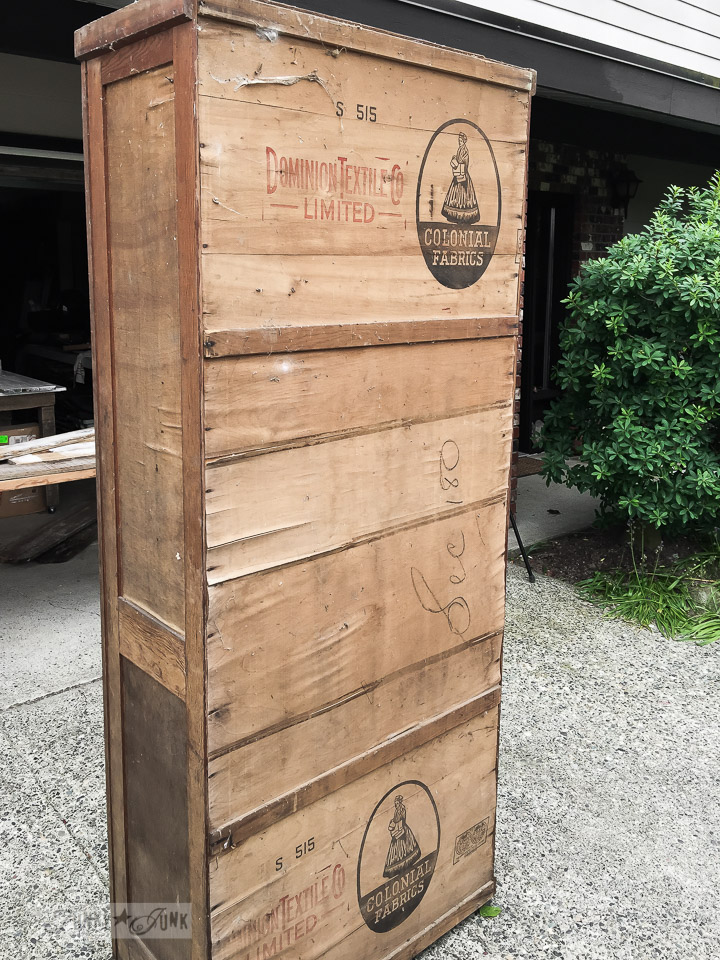 Landing a rustic armoire made out of crates / funkyjunkinteriors.net
