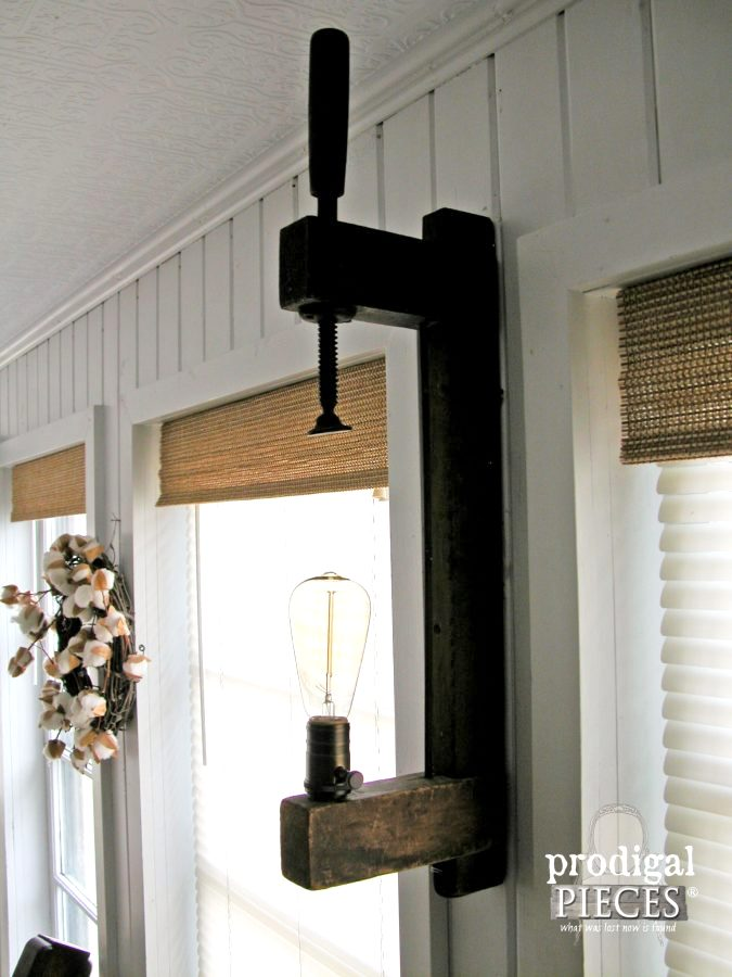 Wooden clamp farmhouse lighting, by Prodigal Pieces, featured on Funky Junk Interiors