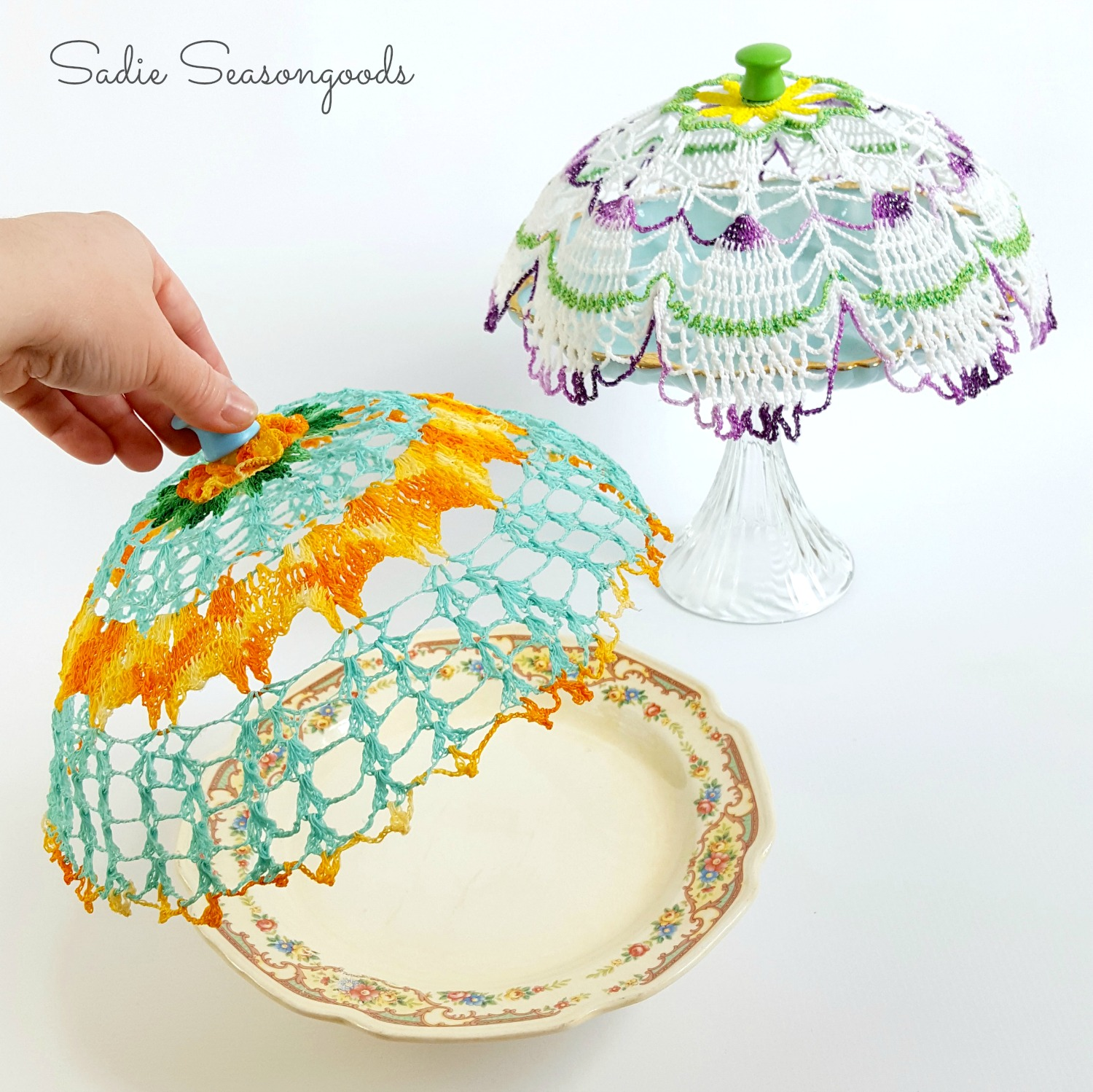 Vintage Doily Cloche Covers by Sadie Seasongoods, featured on Funky Junk Interiors