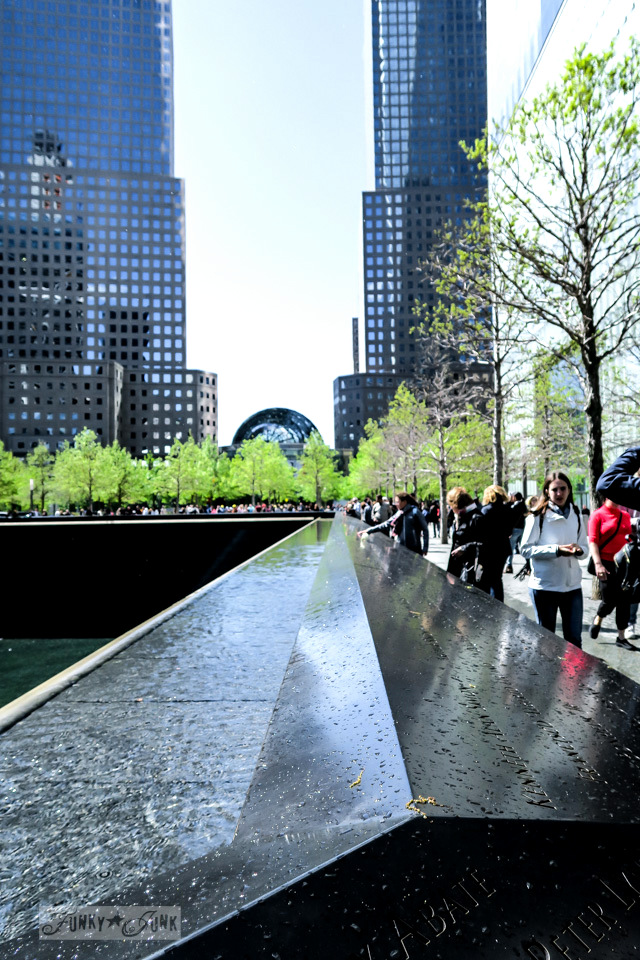 Tree lined view and carved names on the 9-11 Memorial in New York City / funkyjunkinteriors.net