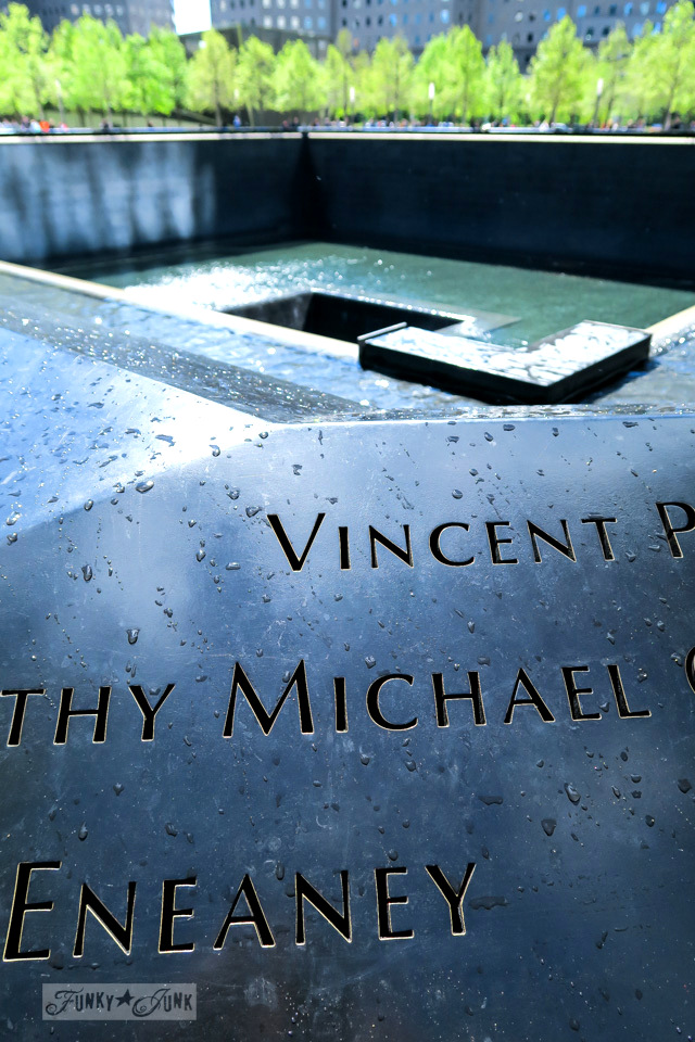Carved names on the 9-11 Memorial in New York City / funkyjunkinteriors.net