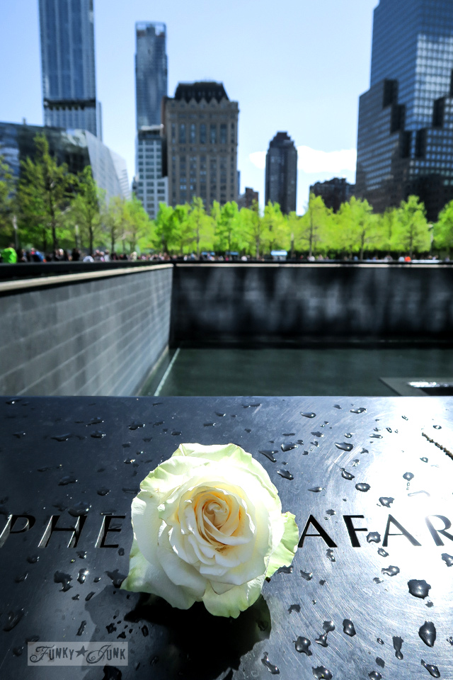 A rose beside the carved names on the 9-11 Memorial in New York City / funkyjunkinteriors.net